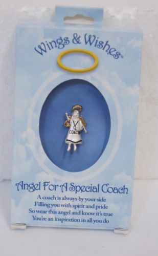 DM Merchandising Wings Wishes Angel Coach WGW3 Silver Colored Pin
