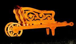 Wood wheel barrel replica with scroll cut Design AA19-1637 Vintage image 4