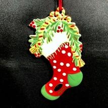 Southern Living Gail Pittman Ornament Christmas Stocking Signed Porcelai... - $19.99