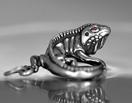 LOOK 3D Iguana ruby eyes Pendant charm Solid Authentic sterling silver L... - $33.37