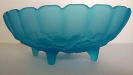 Vintage Westmoreland Blue Satin Large Footed Fruit Bowl/Centerpiece Frui... - $22.00