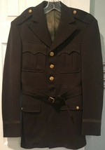Vtg 1950 Army Military Wool Uniform Jacket Coat S 38R Officer May Co Belted - $74.79