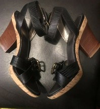 franco sarto womens leather wooden high heels sandals strappy blk sz 9.5 - $29.70