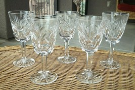 "5 Lot Waterford Crystal Ashling White Wine Glasses 5 5/8"" Mint - $159.50"