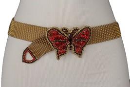 Women Dark Rusty Gold Chain Metal Trendy Fashion Belt Red Butterfly Buck... - $27.43