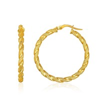 14k Yellow Gold Rope Textured Hoop Earrings Womens Fine Fashion Jewelry - $196.03