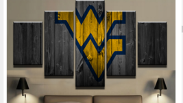 West Virginia College Framed Canvas Five Piece Wall Art 5 Panel Home Decor - $89.09+
