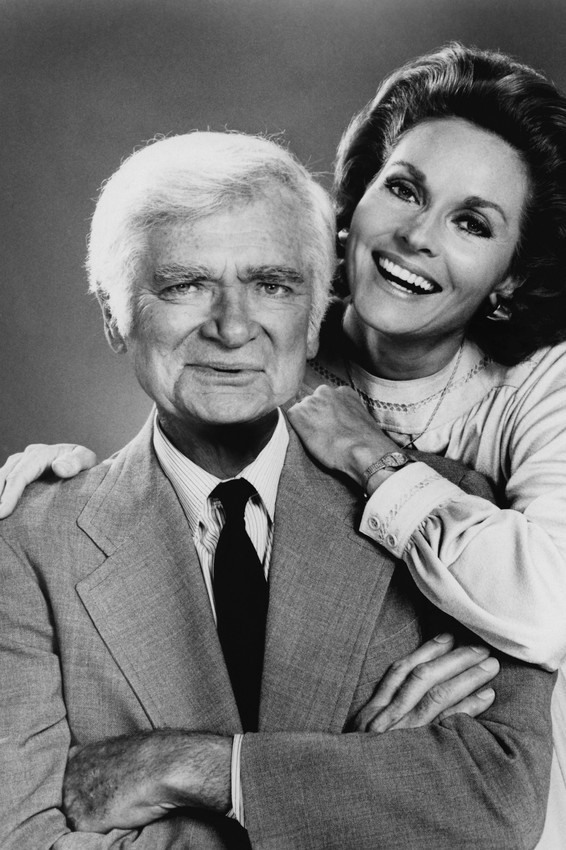 Primary image for Lee Meriwether and Buddy Ebsen in Barnaby Jones Smiling Studio Pose 1977 18x24 P