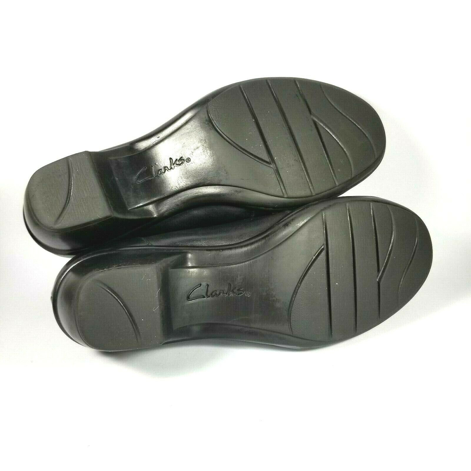 Clarks Bendables 38476 Womens Shoes Black Leather Heeled Slip on Size 7M