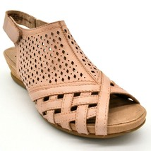 Earth Women Pisa Galli Leather Wedge Slingback Sandals Dusty Pink Size 1... - $37.99