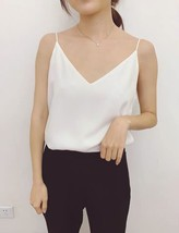 Lady Black V-neck Chiffon Tank Summer Sleeveless Camisole Bridesmaid Chiffon Top image 7