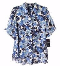 Chaps by Ralph Lauren Petite Blue Floral Georgette Short Sleeve Blouse Top PM PL - $39.99