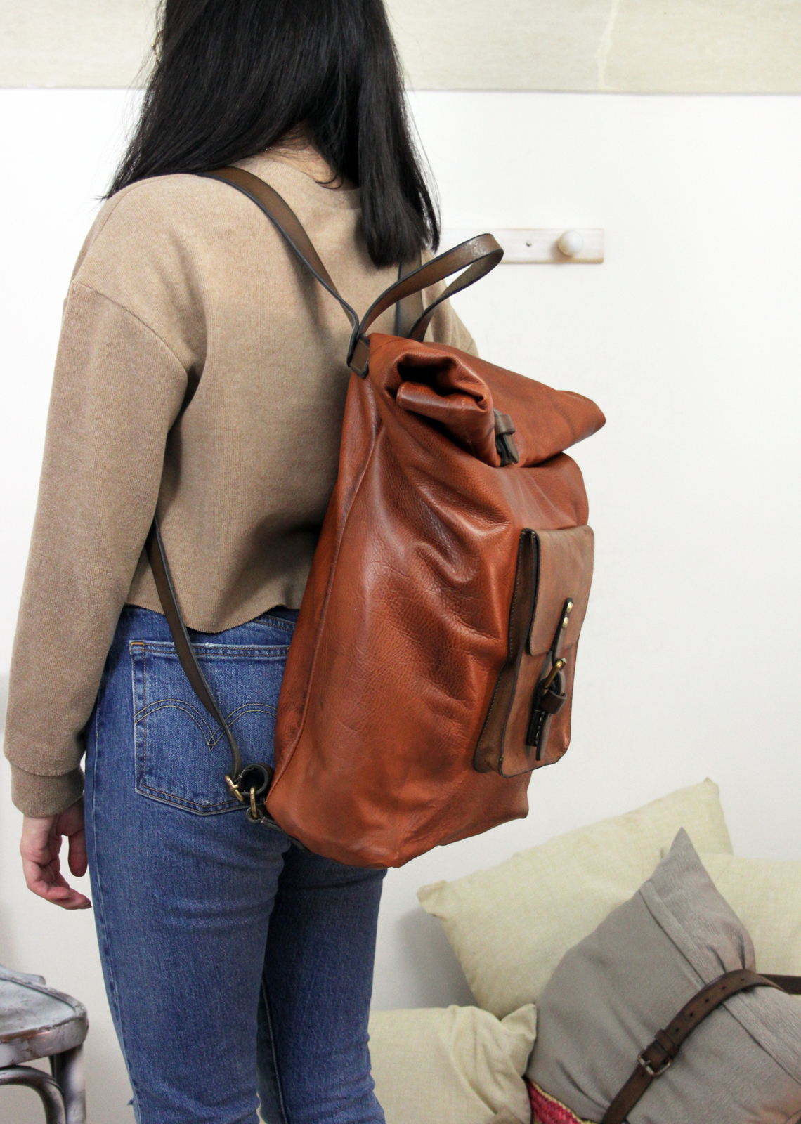 ROLL BACKPACK handmade leather & canvas backpack image 3