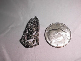 VTG Silver Tone Art Deco Style Faux Marcasite Rose Pin Brooch image 3