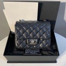 NEW AUTHENTIC CHANEL BLACK QUILTED LAMBSKIN SQUARE MINI CLASSIC FLAP BAG SHW