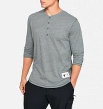 Under Armour Mens UA X Project Rock ¾ Sleeve Henley 1346095-012 Gray/Whi... - $31.48