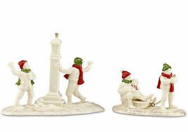 Lenox Mistletoe Park Snow Day 2 Piece Set Village Treasures NEW - $53.90