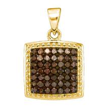 10k Yellow Gold Round Brown Diamond Square Cluster Fashion Pendant 1/2 - $251.00