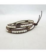 Chan Luu Brown Leather & Pearl Triple Wrap Bracelet 0913GH - $75.00