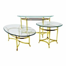Vintage Maison Jansen Style Brass & Glass Living Room Tables - Set of 3 - $1,295.00