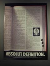 1991 Absolut Vodka Ad - Absolut Definition - $14.99
