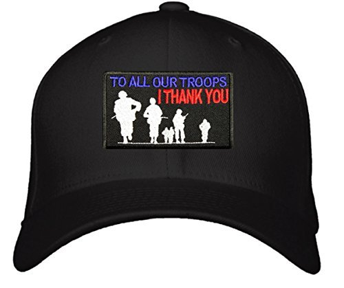 To All Our Troops I Thank You Hat - Adjustable Mens Black/Red/White/Blue - USA P