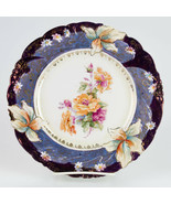 RS Prussia Iris Plate Large Roses, Blue Violet Tiffany Finish & Gold, An... - $147.00