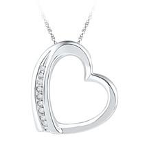 10k White Gold Womens Round Diamond Heart Love Fashion Pendant .03 Cttw - $72.00