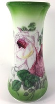 "1900s Westmoreland Milk Glass Hand Painted Farm Roses Decoration 8.5""t Vase - $47.99"
