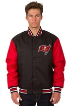 NFL Tampa Bay Buccaneers Poly Twill Jacket Black Red Patch Logo JH Design - $99.99