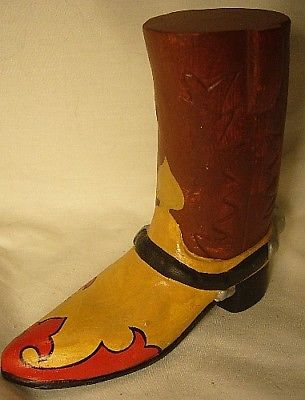 Vaillancourt Folk Art Texas Cowboy Boot Collectors Weekend Dinner Favor
