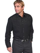 Men's Western Shirt Long Sleeve Rockabilly Country Cowboy Black Tooled F... - $87.38