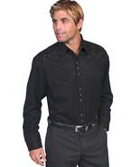 Men's Western Shirt Long Sleeve Rockabilly Country Cowboy Black Tooled F... - $87.79