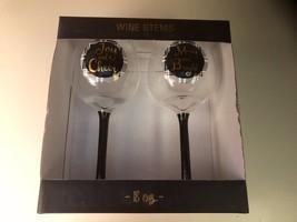 NIB TMD Holiday Wine Glass Set/2 Goblet Gold Silver Stem Joy Cheer Merry... - £15.16 GBP