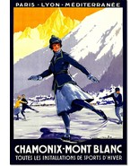 Chamonix Mont Blanc all Winter Sports Vintage Travel Poster Reproduction - $32.99+