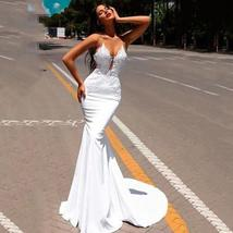 New Satin Mermaid Lace Appliques Sleeveless Princess Wedding Gowns image 2