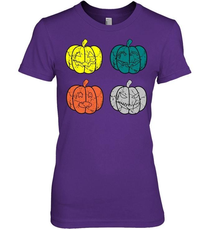 Funny Vintage Pumpkin Tshirt Halloween Fall Season Gift