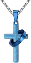 Stainless Steel Lord's Prayer Cross Halo Pendant Necklace, Unisex, Blue,... - $28.09