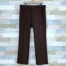 Levis Vintage Dacron Dress Pants Slacks Brown Flat Front Mens Size 40x30 - $29.69