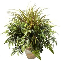 Nearly Natural 6728 Mixed Greens and Grass with Ceramic Planter, Green - $66.58