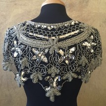 Sequin Beaded Lace Hip Wrap Collar Shoulder Shrug Shawl Applique Silver/... - $38.99