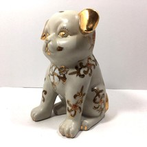 "Vintage Chinese Hand painted Porcelain Dog Statue (Gold on White) 7"" - $24.75"