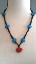 New Zuni StyleFetish Bear Beaded Necklace w/ Howlite Bears & Obsidian  - $23.75