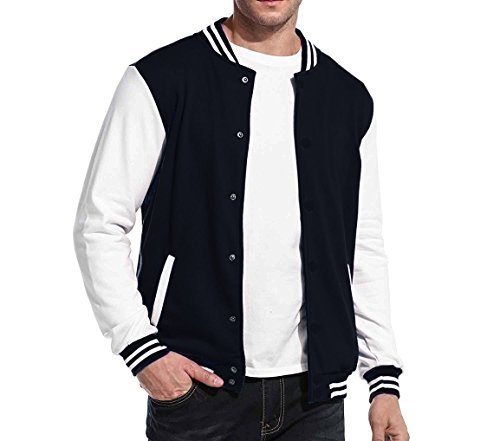 Maximos USA Men's Premium Vintage Baseball Letterman Varsity Jacket (2XL, Navy W