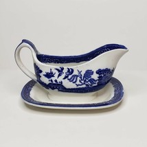 Bakewell Bros Stone on Trent Gravy Boat Attached Plate Blue Willow Transferware - $39.99