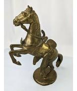 "Brass Standing Horse 9"" Saddle Statue Figure - $119.95"
