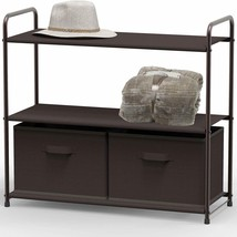 Shelf With 2 Brown Fabric Drawers ORGANIZATION! STORAGE! NEAT! SIMPLE! - €45,36 EUR