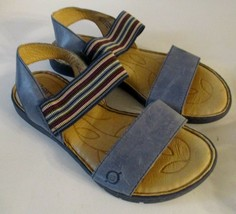 Born Womens Sandals Size 7 Parsons F00134 Blue Ankle Strap Elastric Stripe VG - $32.41