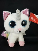 "Russ Unicorn Cat White Shiny Big Eyes Rainbow 7"" Plush Stuffed Animal Wi... - $16.82"