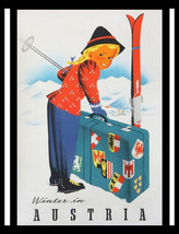Winter in Austria, Little girl skiing, vintage travel poster, tourism, w... - $17.49